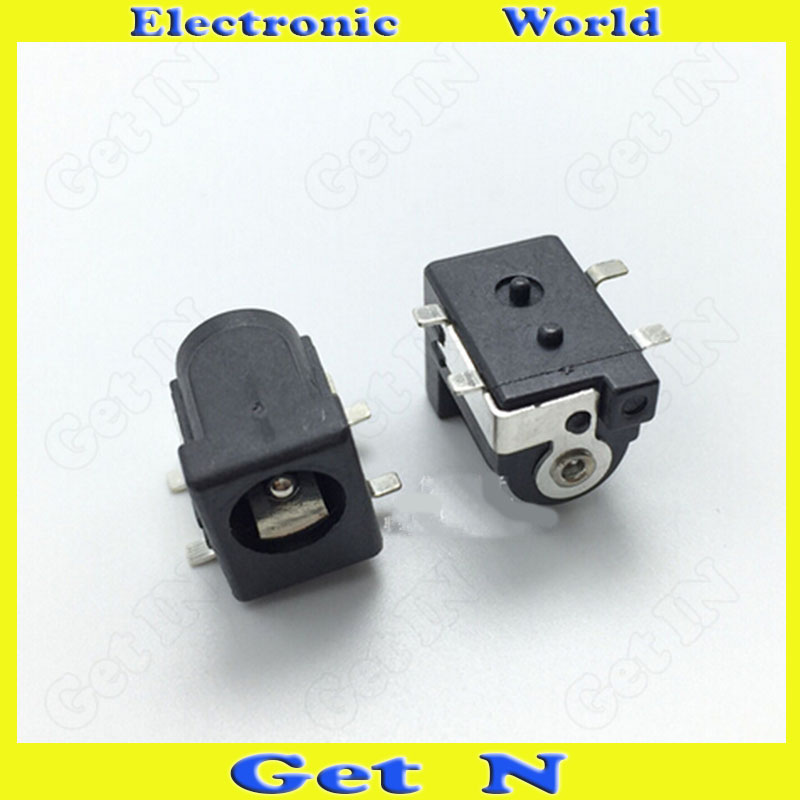 100pcs DC-050 2.5mm SMD 4-Pin DC Power Jack Socket with Locating Pegs High-Temperature-Resistant Receptacle