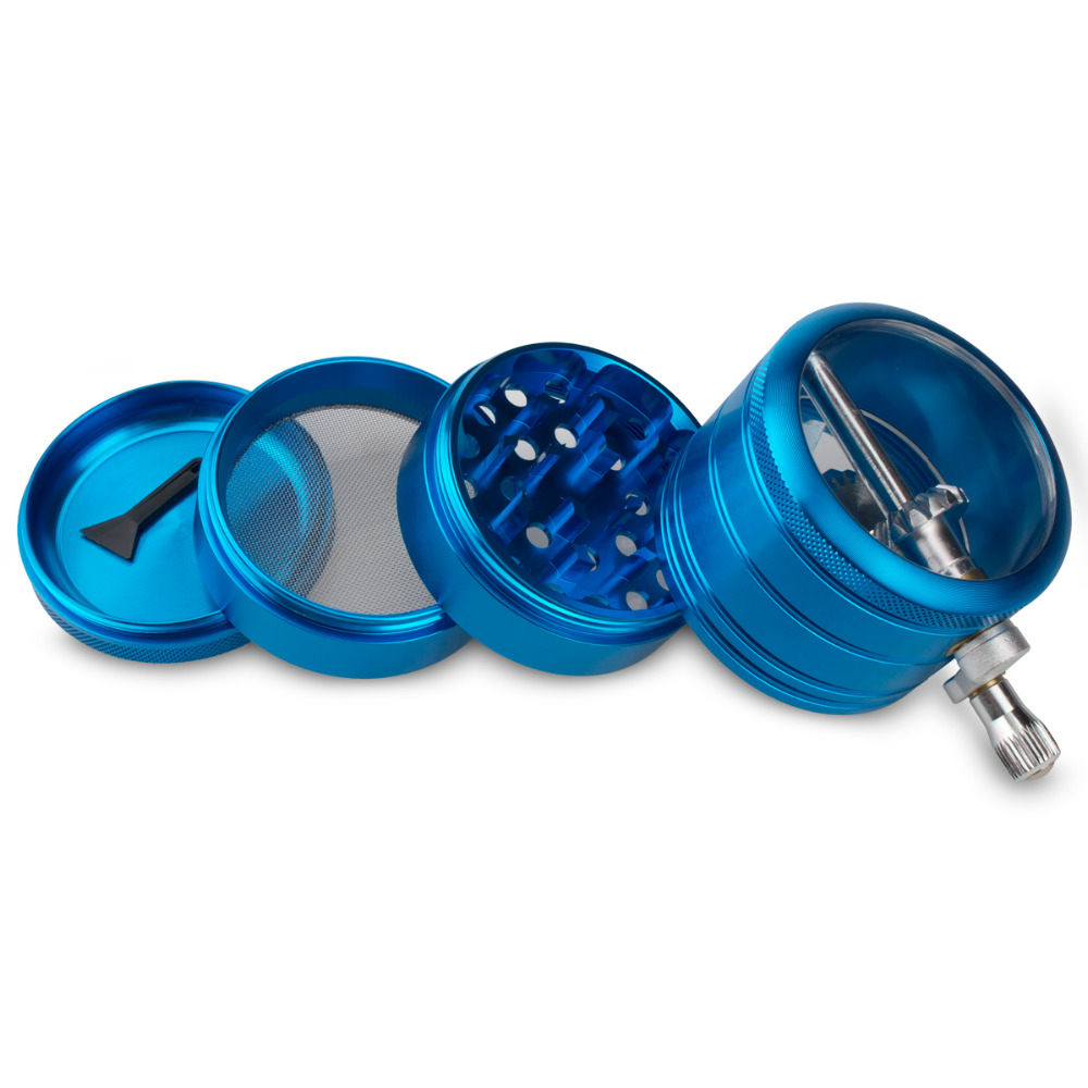 Image 4 - Formax420 4 Pieces 2.0 Inch Metal Grinder Spice Mill Blue Mechanical Handle Grinder-in Tobacco Pipes & Accessories from Home & Garden