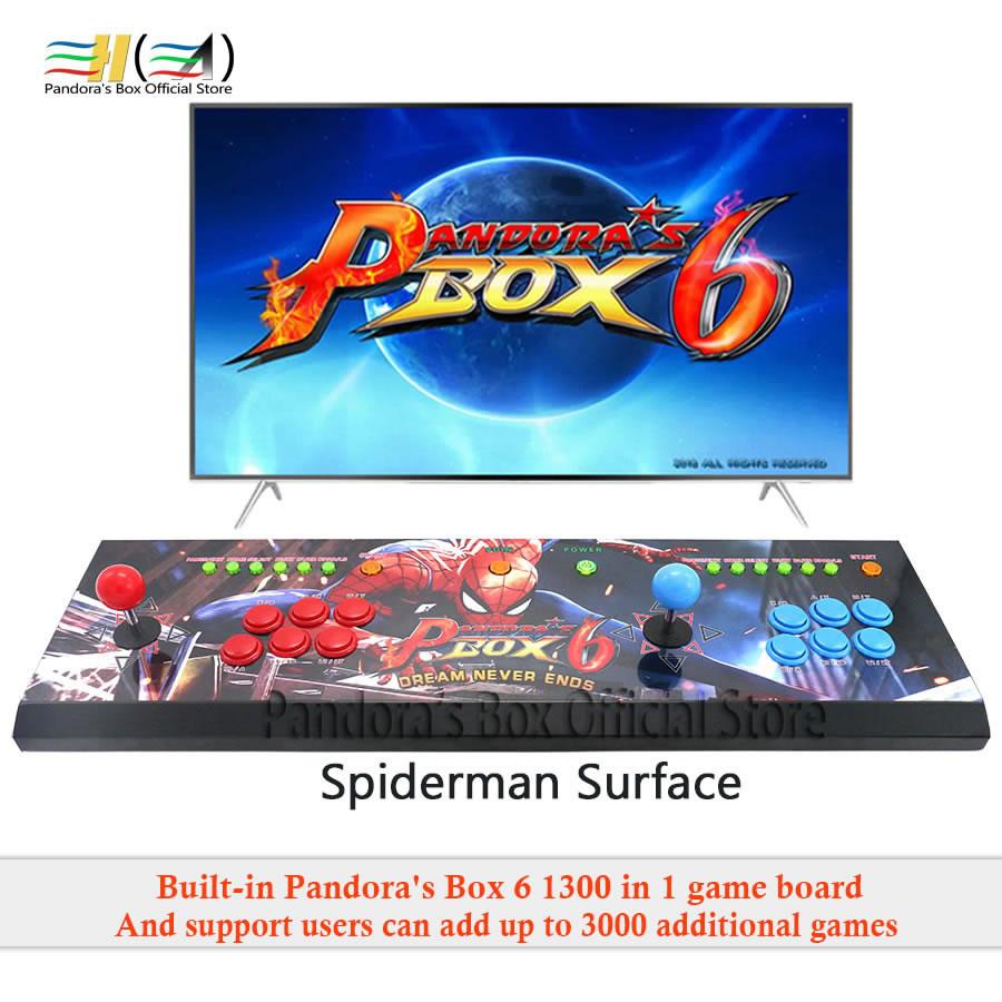 2019 Nouveau Style pandora box 6 1300 dans 1 2 joueurs jeu d'arcade console machine peut ajouter 3000 jeux soutien fba mame ps1 3d tekken