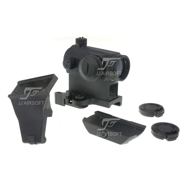 JJ Airsoft Micro 1x24 Red Dot with 45 Degree Offset Mount, QD Riser Mount and Low Mount (Black) target solar power t1 t 1 red dot with riser mount and low mount tan ipsc hs403c hs503c