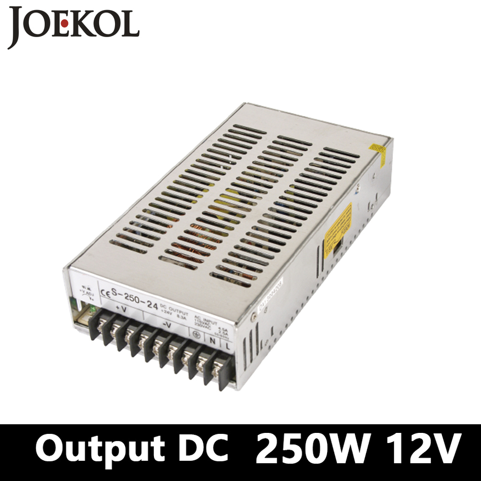 Switching Power Supply 250W 12v 20A,Single Output Ac-Dc Converter For Led Strip,AC110V/220V Transformer To DC 12V high power switching power supply 1500w 12v 125a single output ac dc converter for led strip ac110v 220v transformer to dc 12v