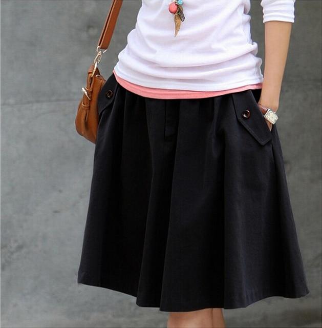 2019 Women Midi Skirt High Waist Design Casual Skirt Plus Size Vintage Pleated  Skirt European Style 68a0aacff