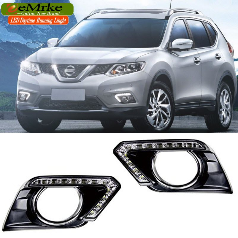 eeMrke Car LED DRL For Nissan Rogue X-Trail 2014 2015 White DRL + Yellow Turn Signal Fog Cover Daytime Running Lights Kits camera security home hd wireless network smart phone remote wifi night vision security monitoring