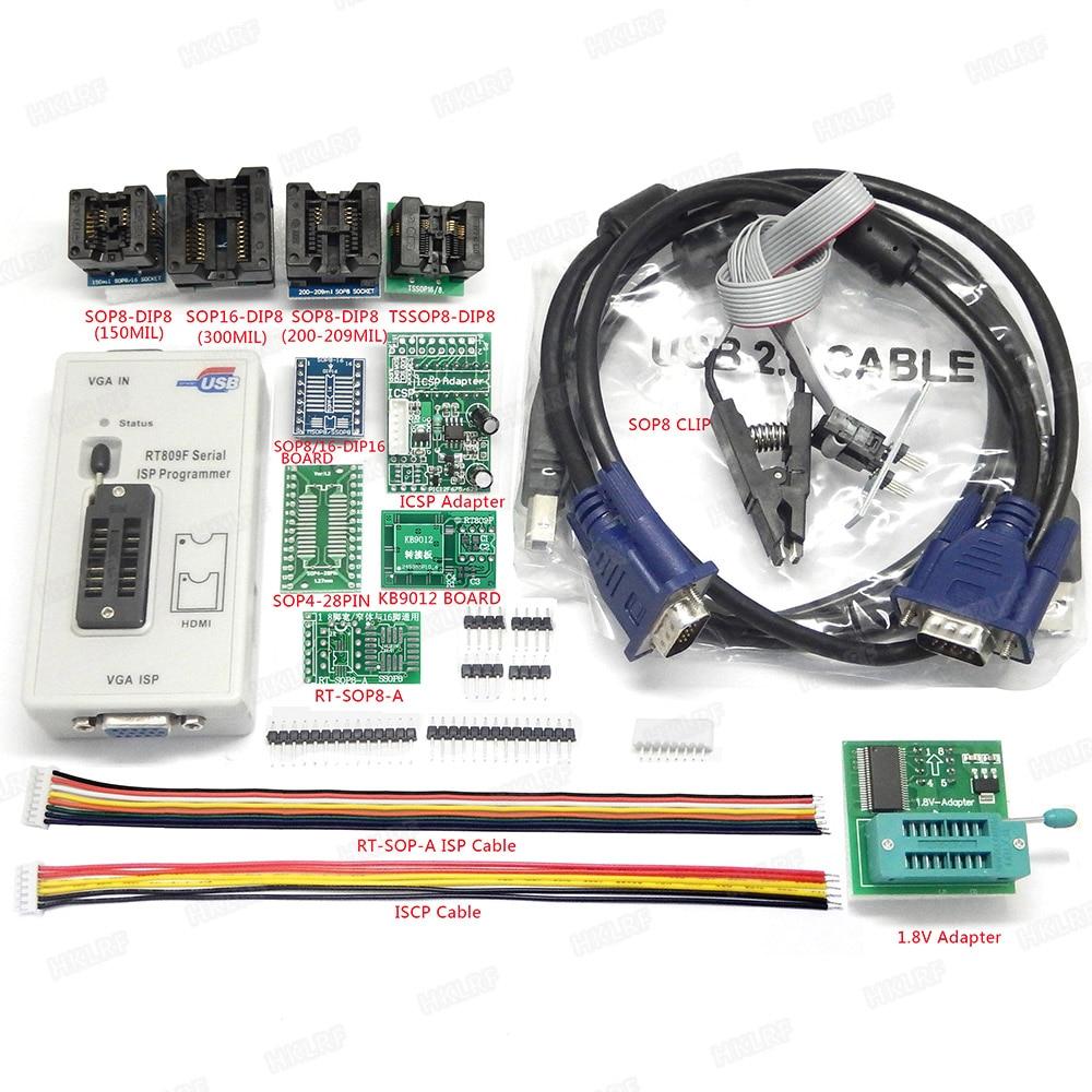 RT809F ISP Programmer 11 Adapters ICSP board 6Adapters 24 25 93 serise IC Offline board KB9012