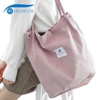 Hylhexyr Solid Corduroy Shoulder Bags Environmental Shopping Bag Tote Package Crossbody Bags Purses Casual Handbag For Women