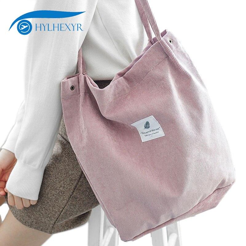 Hylhexyr sólido de pana de hombro bolsas ambientales bolso de compras bolso de paquete de bolso bolsas bolso Casual para mujeres
