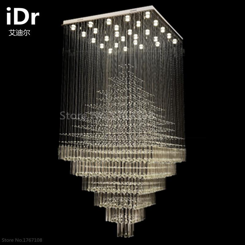 Duplex Villa Treppe Lampe Lange Wohnzimmer Leuchtet Kristall Kronleuchter Led-beleuchtung Gehobenen Atmosphäre Kostenlose Lieferung