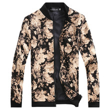 2016 brand Men's Slim jacquard jacket coat autumn fashion leisure wild cardigan stylish floral jacket men Male Coats