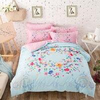 Colore brillante Fiori Bedding Set Quilt Cover Lenzuola Federa cotone Stampato Floreale Tessuti Per La Casa per Full-Queen Size letto