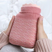 Silicone hot water bottle water warm water bag warm palace hand warmers mini portable explosion-proof plush warm baby students