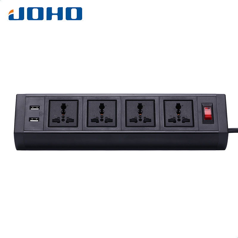 JOHO Desktop 4 Sockets Dual USB Charger With Switch 250V 10A/16A Tabletop Socket Universal Computers Desktop PC Data Cable
