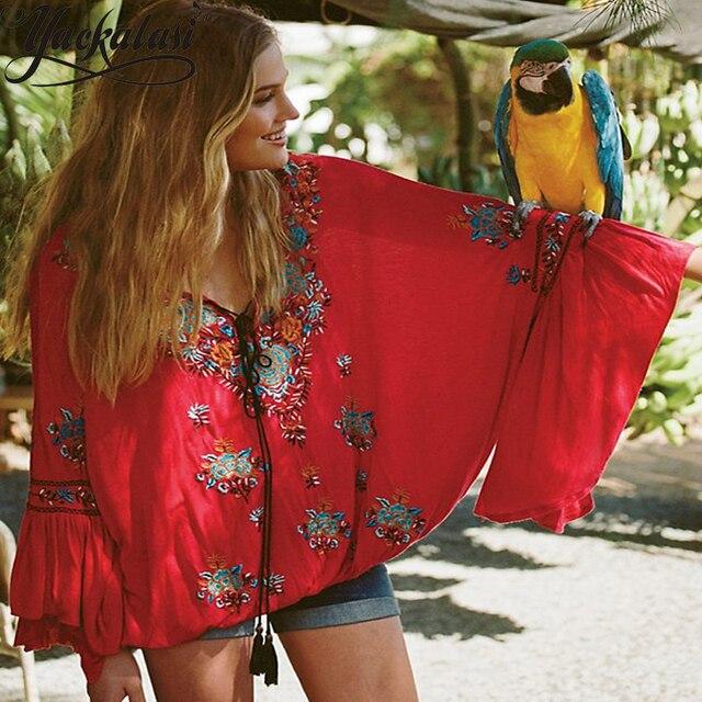 Nueva gasa de la moda camisa de la playa étnico bordado profunda v blusa de cuello bordado manga farol romántica flare manga de la chaqueta en Blusas