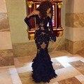 2017 Negro O Cuello Vestidos de Baile Sirena Apliques Ruffles Zipper vestido de festa de Manga Larga Sexy Net Vestidos de Partido de Encargo hecho