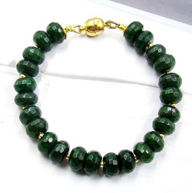 Piedra Natural Joyas de Esmeraldas de Color Verde Oscuro Con Cuentas de Época Clásica Cadena Strand Pulsera para Las Mujeres Corchete Del Imán