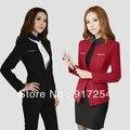 Más el tamaño 4XL elegante profesional de manga larga moda mujeres de carrera trajes formales conjuntos ropa de trabajo trajes con Blazer S-XXXXL