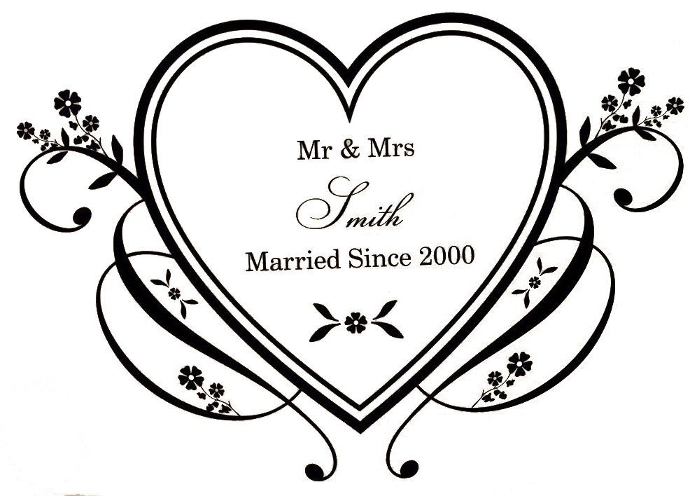 Personalised Name Anniversary Wedding Party Decoration Wall Sticker Heart Art Decals Bedroom Wallpaper Murals In Stickers From Home Garden On