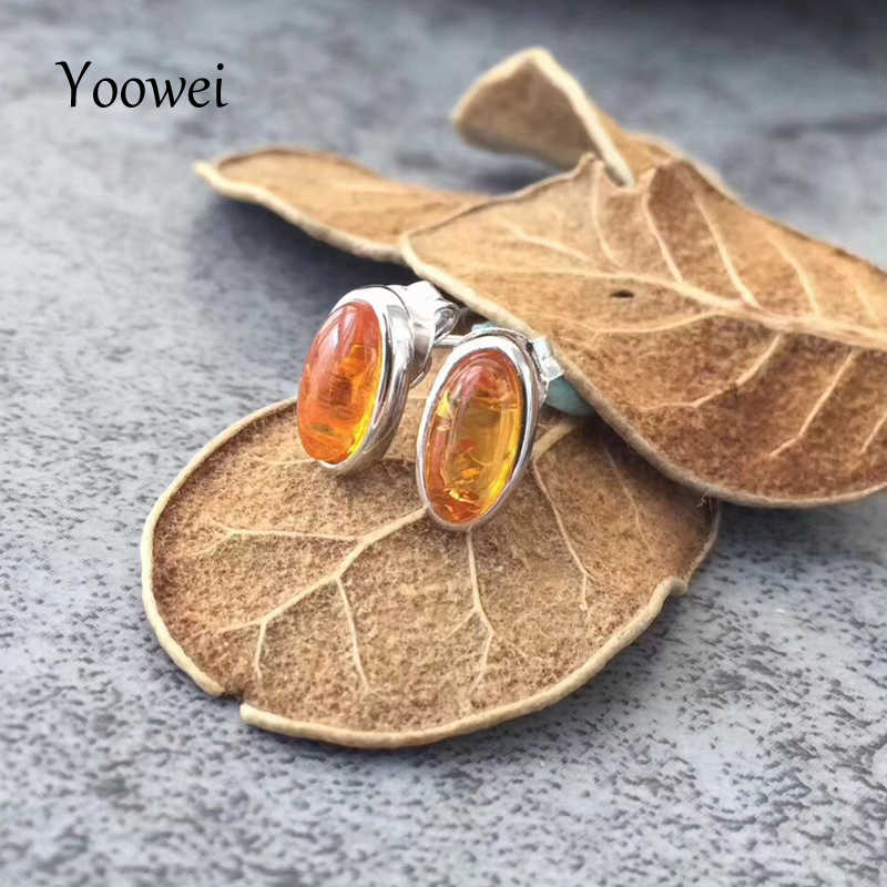 Yoowei Oval Amber Anting untuk Wanita 3 Warna Chic Mini Pejantan Anting Trendy Gaya Eropa Natural Baltic Amber Perhiasan Grosir