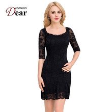 Comeondear Lace Maxi Vestidos Backless O-Neck Mini Half Sleeve Fitted Dresses Have Lined Arm Transparent Mesh Dresses VK1046