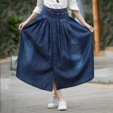 Summer new women's clothing Cotton collage / stitching elastic waist denim skirt Pleated, bow pleated skirt drawstring waist pleated skirt