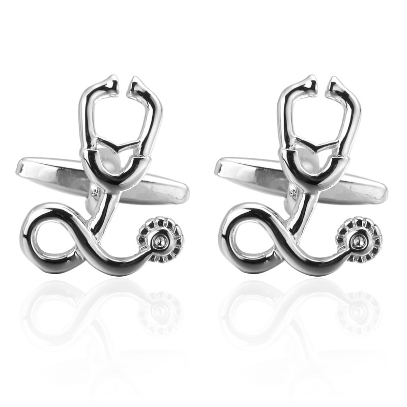 C-MAN Luxury shirt silver Stethoscope Cufflinks brand Hipster Cufflinks For Men Gift for Dad Gift for Husband Fathers Day Gift