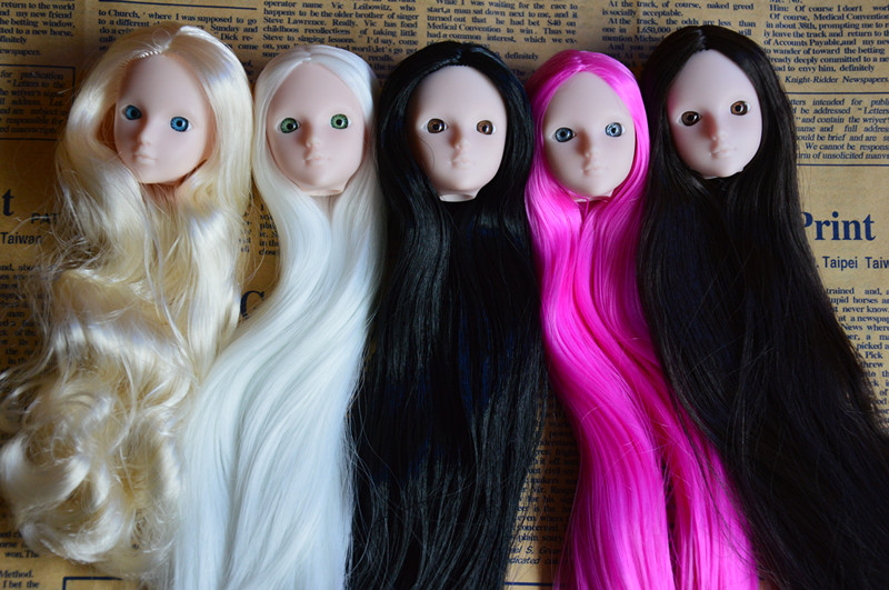 Excellent Quality Doll Head with Colorized straight Hair DIY Accessories For Barbie Dolls head 1/6 doll head for girl toy gift handmade chinese ancient doll tang beauty princess pingyang 1 6 bjd dolls 12 jointed doll toy for girl christmas gift brinquedo