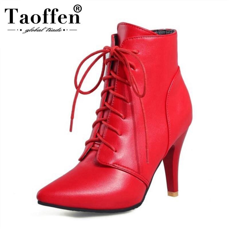 f03705447 Comprar 32 46 Taoffen Plus Size Mulheres Sapatos De Salto Alto Botas De  Pele de Inverno Tornozelo Quente Botas Tira Cruzada Dedo Apontado Curto  botas de Cal ...