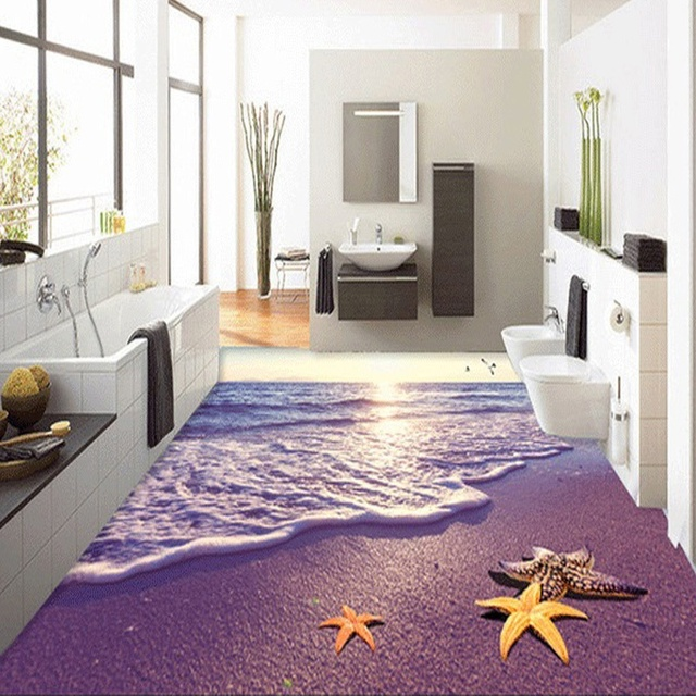 Custom Photo Wallpaper 3D Beach Ocean Wave Starfish Living Room ...