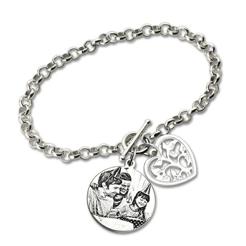 купить Wholesale Custom Photo Bracelet Family Tree Pendant Sterling Silver Photo Engraved Chain Bracelet Picture Gifts for Mother недорого