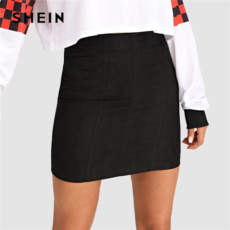 SHEIN con cremallera negro sólido falda cremallera sólido falda Mediados de cintura corto Mini faldas las mujeres otoño elegante simple bottoms