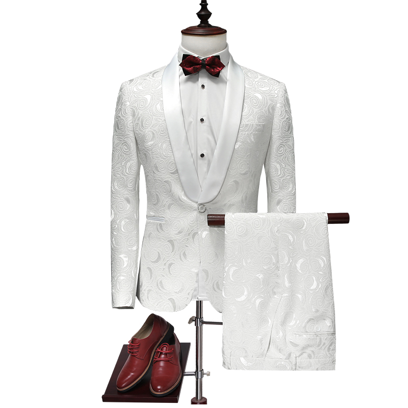 2018 New White Mens Suit Set of 2 S M L XL 2XL 3XL 4XL Jacquard Fabric Business Wedding Ban Mans Long Sleeve Blazer and Pants