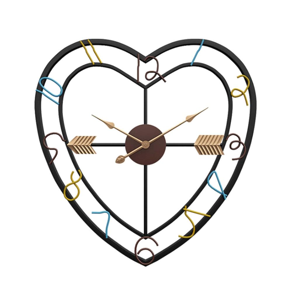50 cm diamètre style européen amour coeur conception fer silencieux horloge murale pour salon chambre décoration