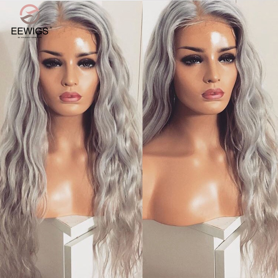 EEWIGS High Temperature Fiber Sliver Grey Synthetic Lace Front Wig With Baby Hair 180 Platinum Blonde Loose Wave Wigs For Women(China)