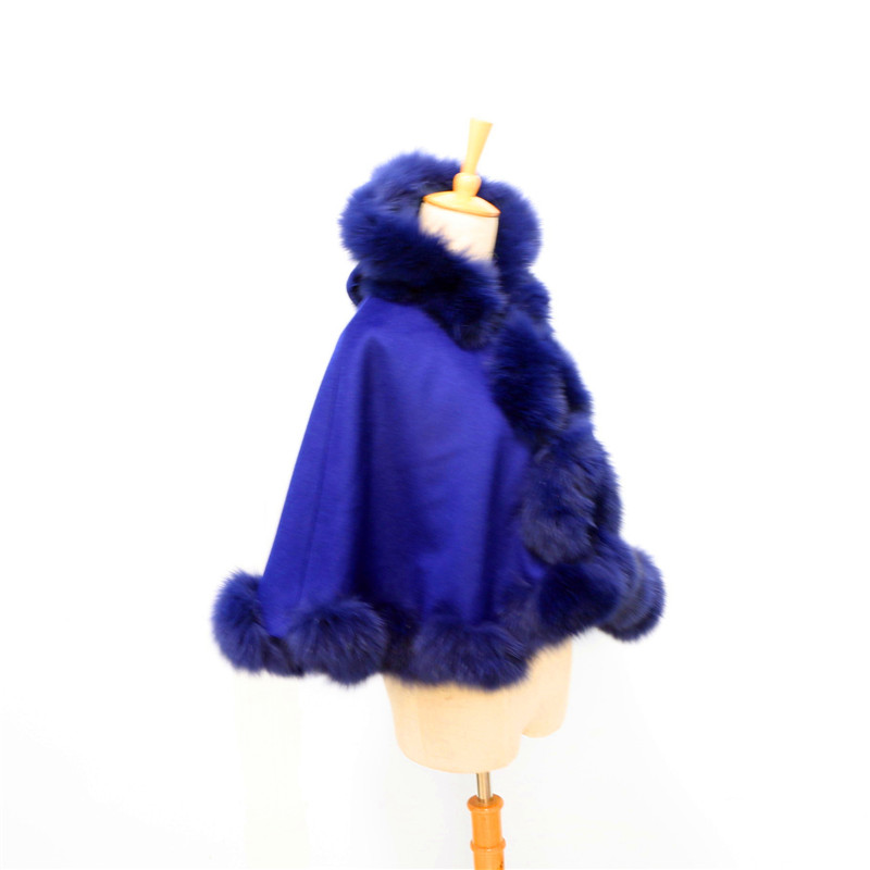 Livraison gratuite enfant (age3-5) longueur 40cm torsadé fourrure avec capuche cachemire cape - 3