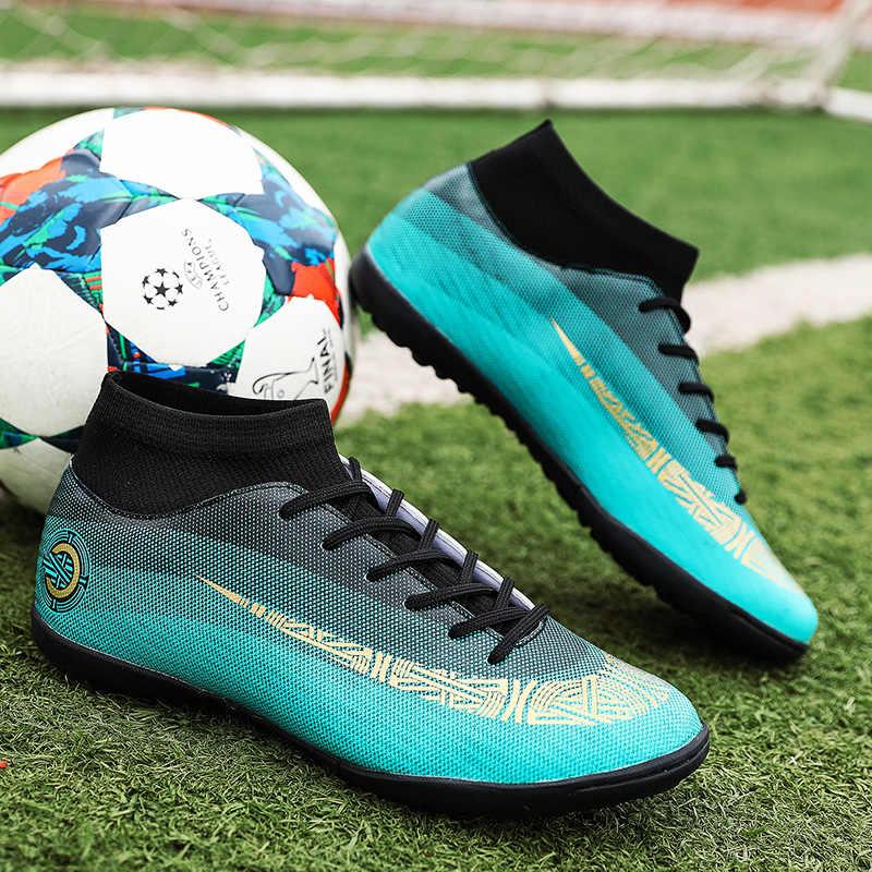 ecb5f6ffc FANCIHAWAY Men Soccer Shoes Turf Superfly VI High Ankle Futsal Kids  Football Boots Athletic Training Cleats