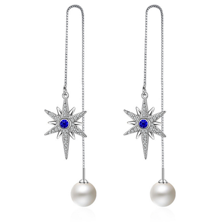 Yingyubaby fashion AAA cubic zirconia star shaped ear line with created pearl drop earrings womens accessaries