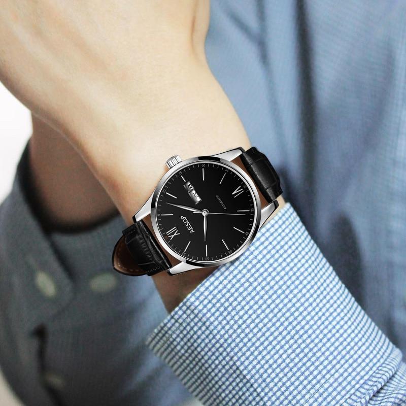 AESOP mince affaires hommes montres haut marque de luxe mince noir heures bleu visage mâle horloge en cuir Relogio Masculino - 4