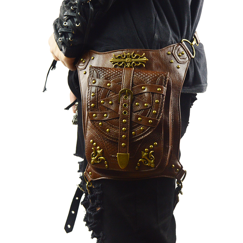 Punk Vintage Messenger Bags Men Waist Bags Rock Rivet Crossbody Shoulder Bag Brown Steampunk Women Leather Motorcycle Bag free shipping 2017 new designers women leather bags handicraft rivet jacket punk style messenger bags shoulder crossbody bag go