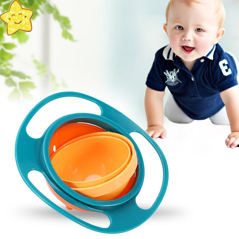 Baby Kids Feeding Bowl Gyro Bowl Universal 360 Rotate Spill-Proof Feeding Bowl