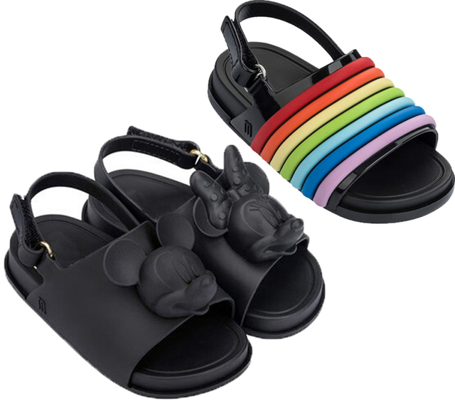 303946866dcd 2018 Summer New design Mickey Minnie girls Beach slippers Mini Melissa boys Rainbow  sandals baby kids anti skid shoes toddler