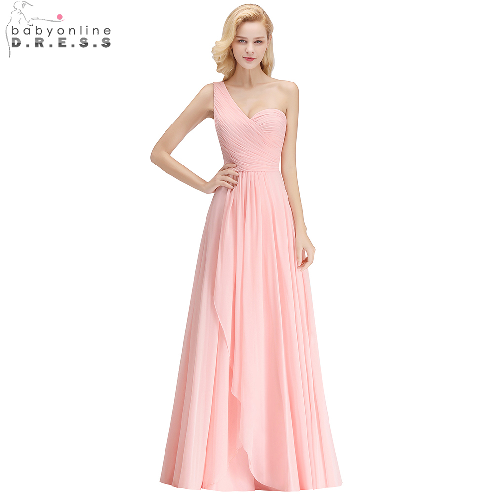 Babyonline Custom Made One Shoulder Chiffon   Bridesmaid     Dresses   2019 Party   Dresses   Zipper Up Long   Dress   For Wedding Party