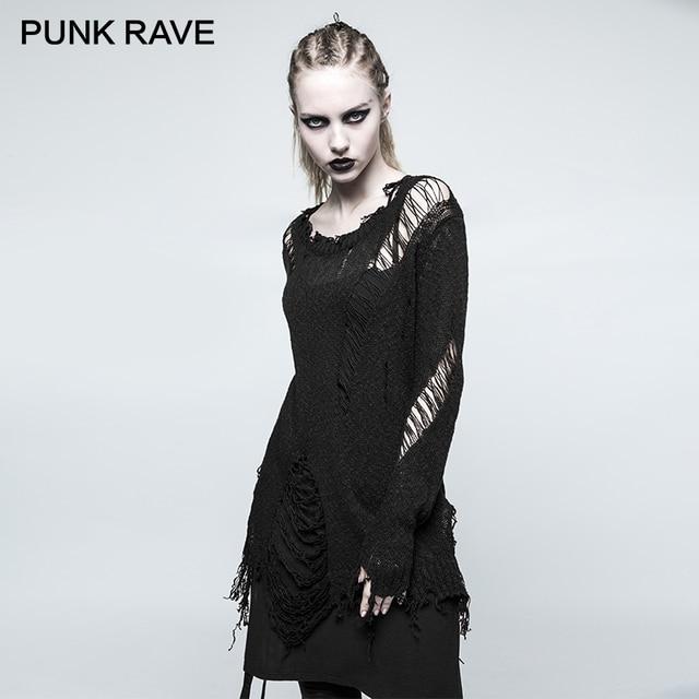 Zwarte Dames Trui.Punk Rave Punk Rock Zoom Gat Losse Versie Zwarte Dames Trui