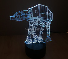 Free Shipping 1 Piece SmartTouch Mood light colorful Imperial Walker AT-AT Star Wars Table Lamp 3D Engraving LED night light цена
