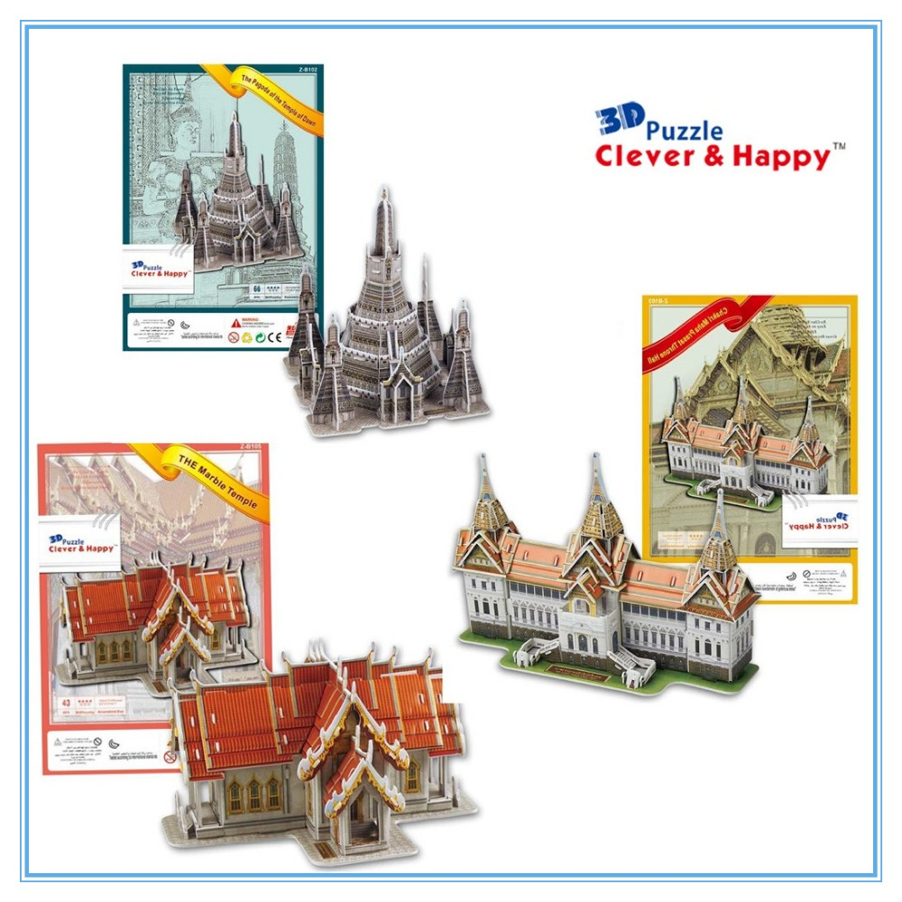 Thai Famous Architecture 3 SETS with Temple of Dawn,Chakri Maha Prasat ,The Marble Temple 3D puzzle