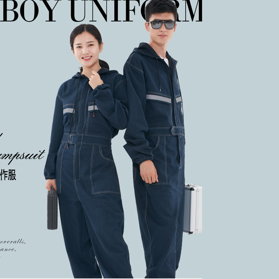 Denim Overalls Work Clothing Men Women Long Sleeved Hooded Coveralls Labor Overalls For Welding Auto Repair Painting Spraying slim fit ruffle long sleeved hooded quilted coat for women
