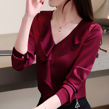 Women Blouse Woman Spring Shirts Tops Female Casual Silk Blouse and Tops Woman Clothing Solid Shirts Office Lady Shirt Plus Size sexy snake printed blouse shirt office lady puff sleeve casual shirts female elegant spring autumn blouse tops