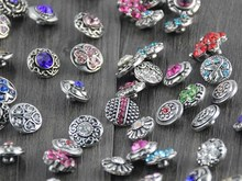 100pcs/lot hot sale many styles Rhinstone Snaps buttons for 12mm snap button jewelry fit leather charm bracelets free shipping