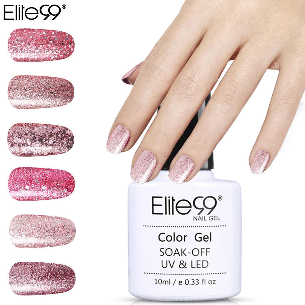 Elite99 10 ml Rose Gold Gel เคลือบเงาเล็บ Bling Glitter เล็บเจล Polish Soak Off Shining Nail Art เล็บ UV Gel Lacquer