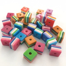Meideheng resin striped beads Mixed color cube the middle hole Childrens necklace accessories New Arrival 8*8mm/50PCS