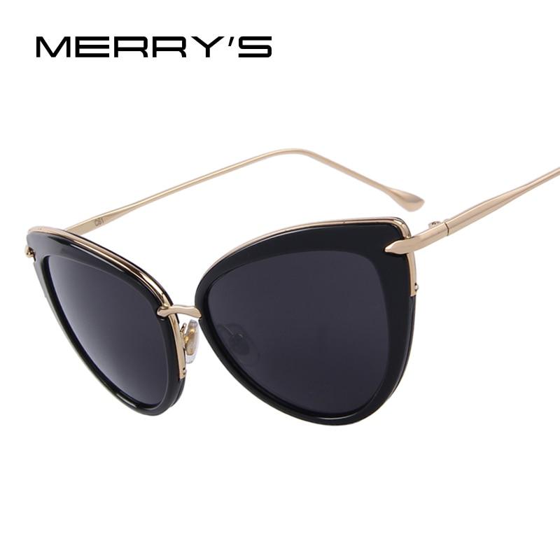 Donne di Modo MERRY'S Cat Eye occhiali da Sole Ovale Della Lega Cornice Dello Specchio Lente Oculos de sol UV400