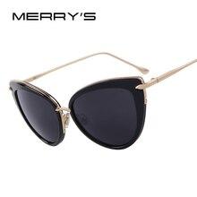 MERRY'S Fashion Women Cat Eye Sunglasses Oval Alloy Frame Mirror Lens Brand Designer Sunglasses Oculos de sol UV400